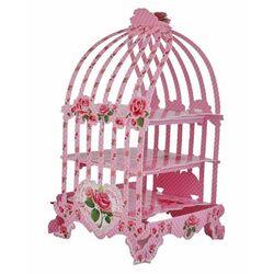 Présentoir cupcakes cage à oiseaux rose