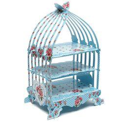 Présentoir cupcakes cage à oiseaux bleu