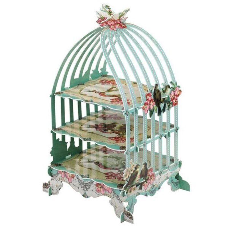Présentoir cupcakes cage à oiseaux vert