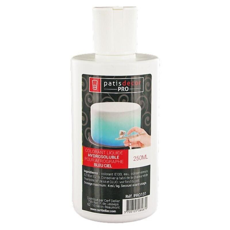 Colorant alimentaire liquide hydrosoluble Bleu Ciel 250 ml
