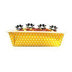 Moule à cake jetable jaune à pois (x4)