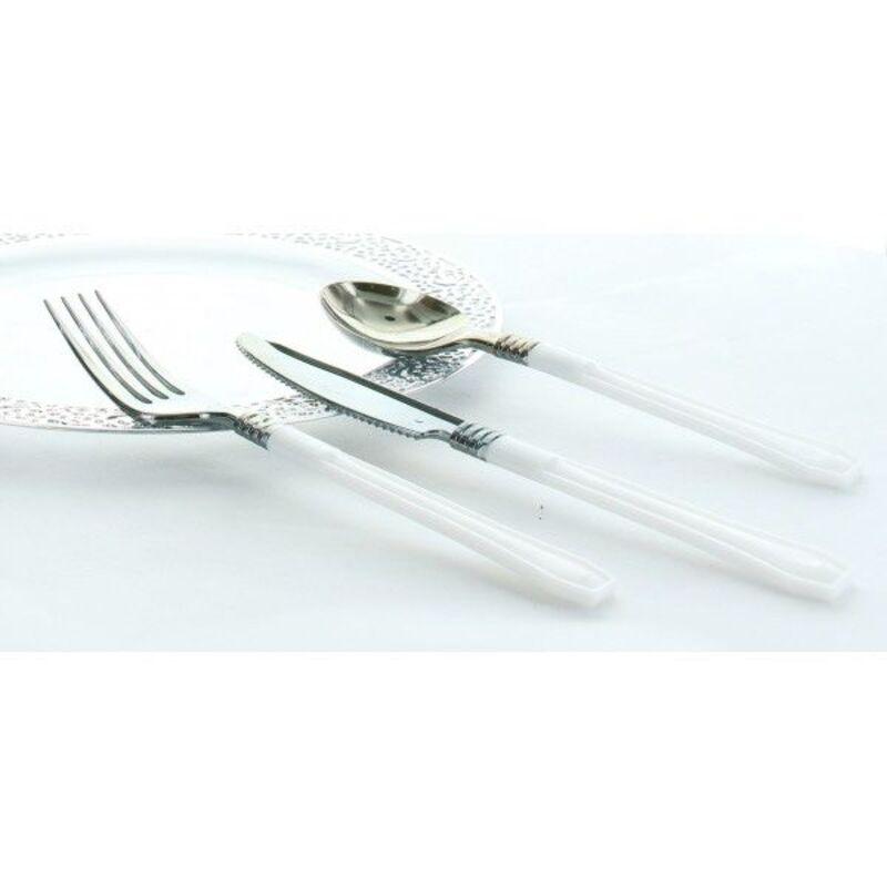 20 fourchettes blanches en plastique