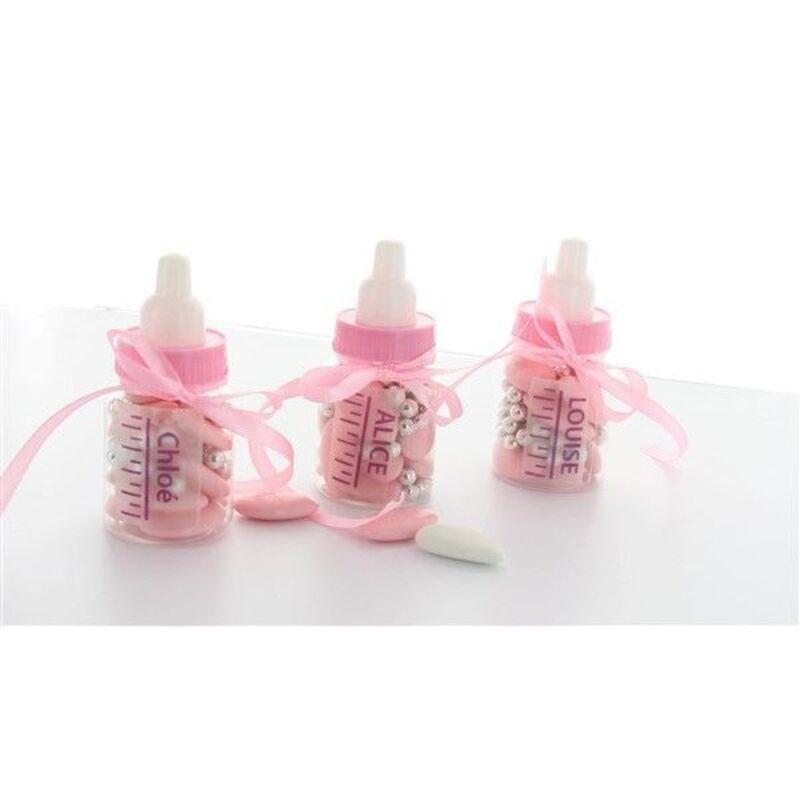 6 boîtes à dragées biberons roses