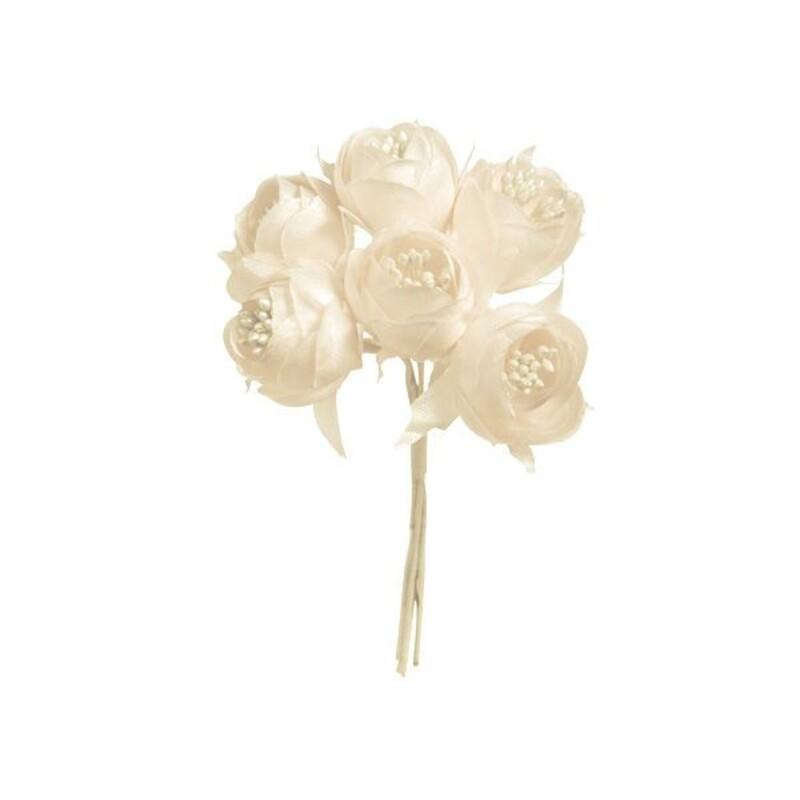 12 boutons de pivoine ivoires 10 cm