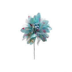 2 fleurs Gipsy turquoise 12 cm