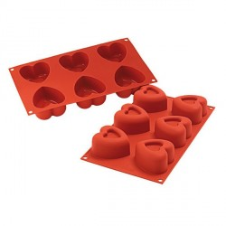 Moule silicone 6 coeurs 6,9 cm
