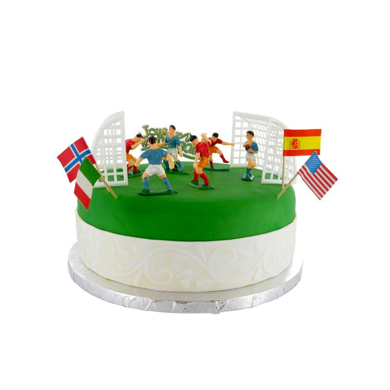 Kit decor gateau football decor patisserie cerf dellier - Decoration football pour anniversaire ...
