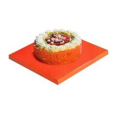 Plateau carré orange / blanc 32 cm