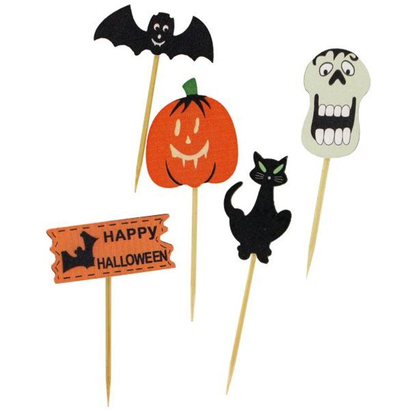 Décors d'Halloween sur pique assortis (x10)