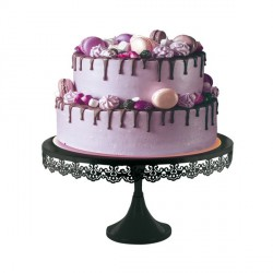 Présentoir gâteau noir broderie 35 cm