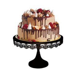 Présentoir gâteau noir broderie 30 cm