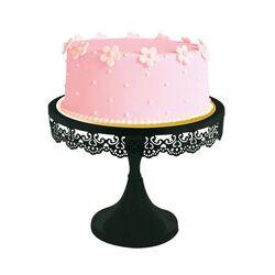 Présentoir gâteau noir broderie 23 cm