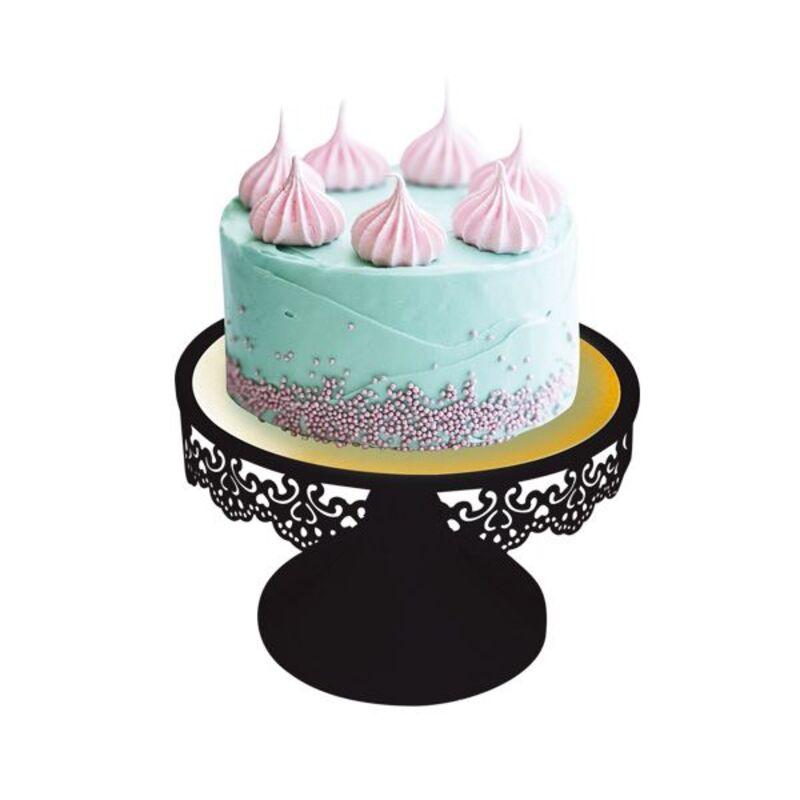 Présentoir gâteau noir broderie 18 cm