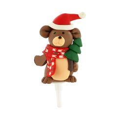 Ours de Noël résine sur pique