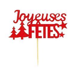 """Décors sur pique """"Joyeuses Fêtes"""" rouges"""