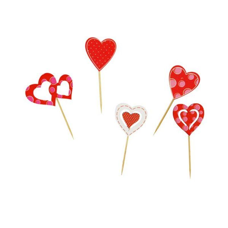 Décors coeurs sur pique en bois (x10)