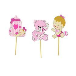 Cupcake Toppers Bébé fille en bois (x3)