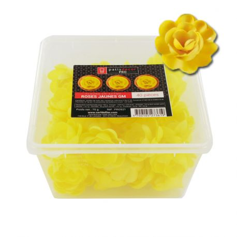 40 grandes roses jaunes en azyme Patisdécor Pro