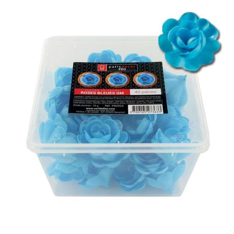 40 grandes roses bleues en azyme Patisdécor Pro