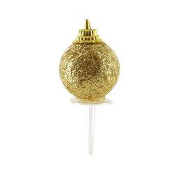 Boules de Noël dorées paillettes sur pique (x50)