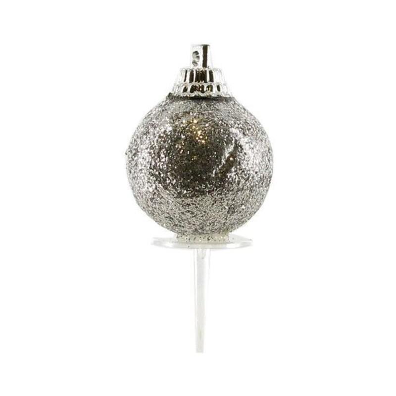 Boules de Noël argentées paillettes sur pique (x50)