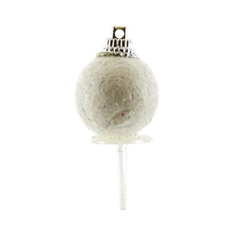 Boules de Noël blanches paillettes sur pique (x50)