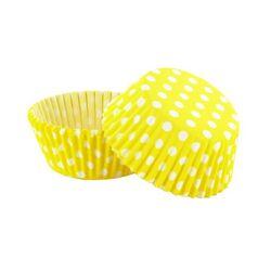 Caissette cupcake jaune pois blancs (x 50)