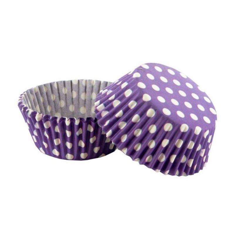 Caissette cupcake violet pois blancs (x 50)