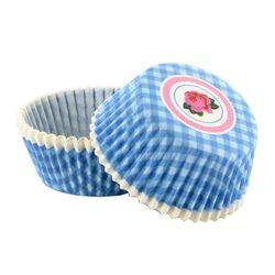 Caissette cupcake vichy bleu décor rose (x 50)