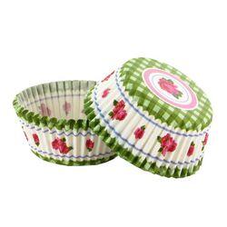 Caissette cupcake vichy vert décor rose (x 50)