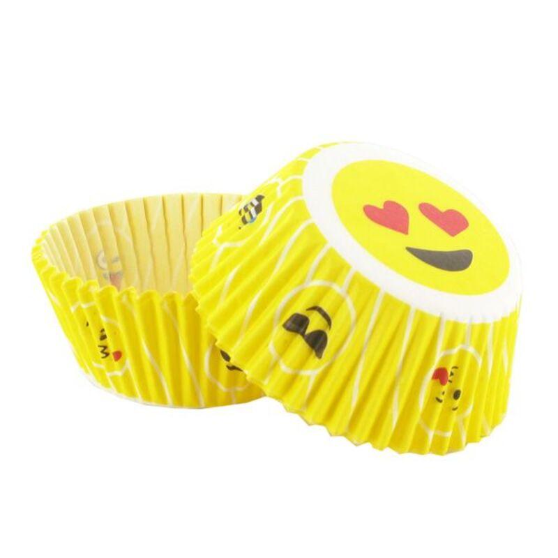 Caissette cupcake jaune Emoticônes (x 50)