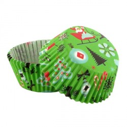 Caissette cupcake verte Noël (x 50)