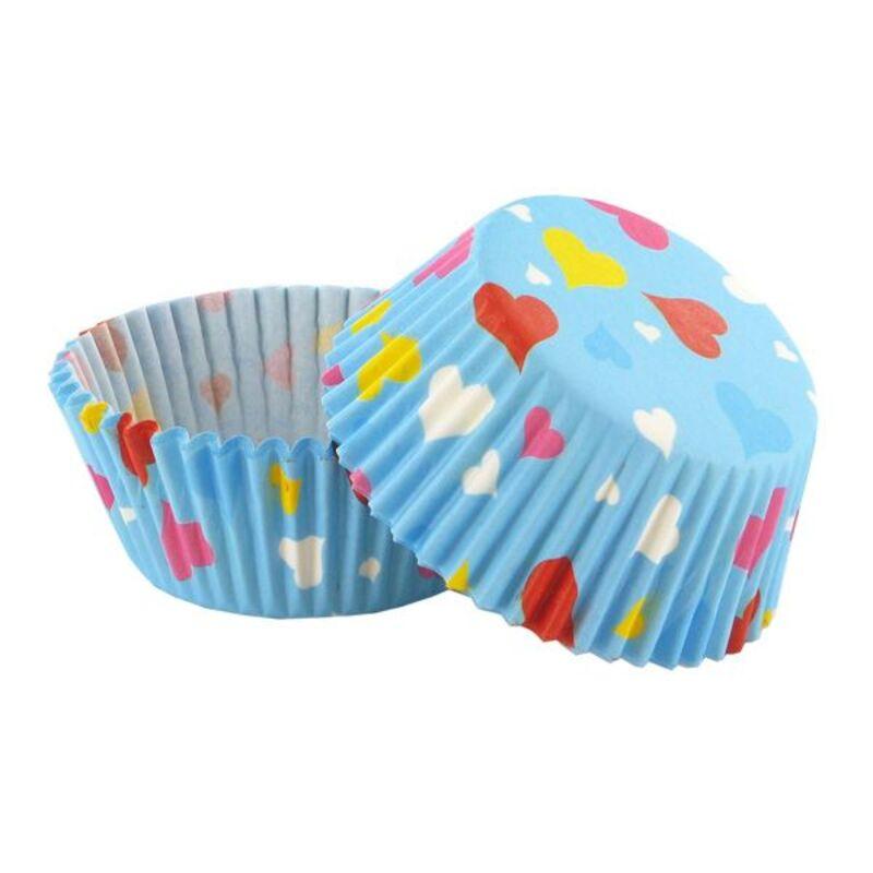Caissette cupcake coeurs multicolores (x 50)