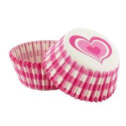 Caissette cupcake vichy rose décor coeur  (x 50)