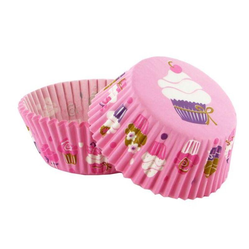 Caissette cupcake rose décor cupcakes (x 50)