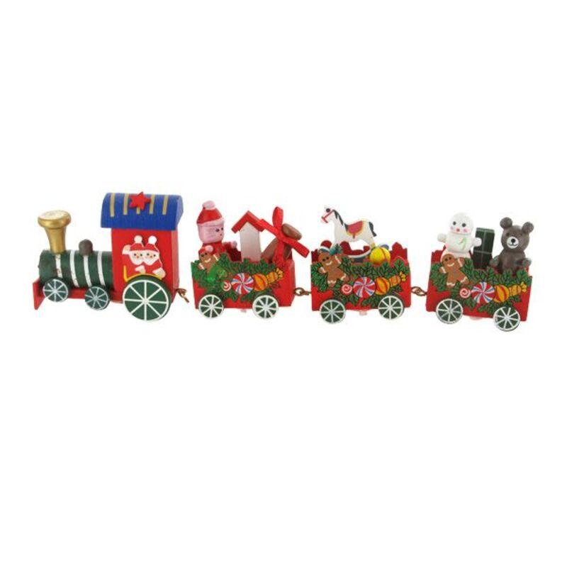 Train de Noël en bois sur pique