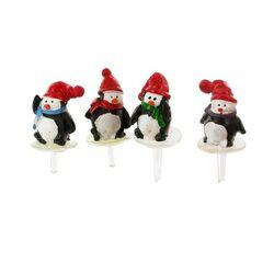 Pingouins assortis sur pique Patisdécor (x4)