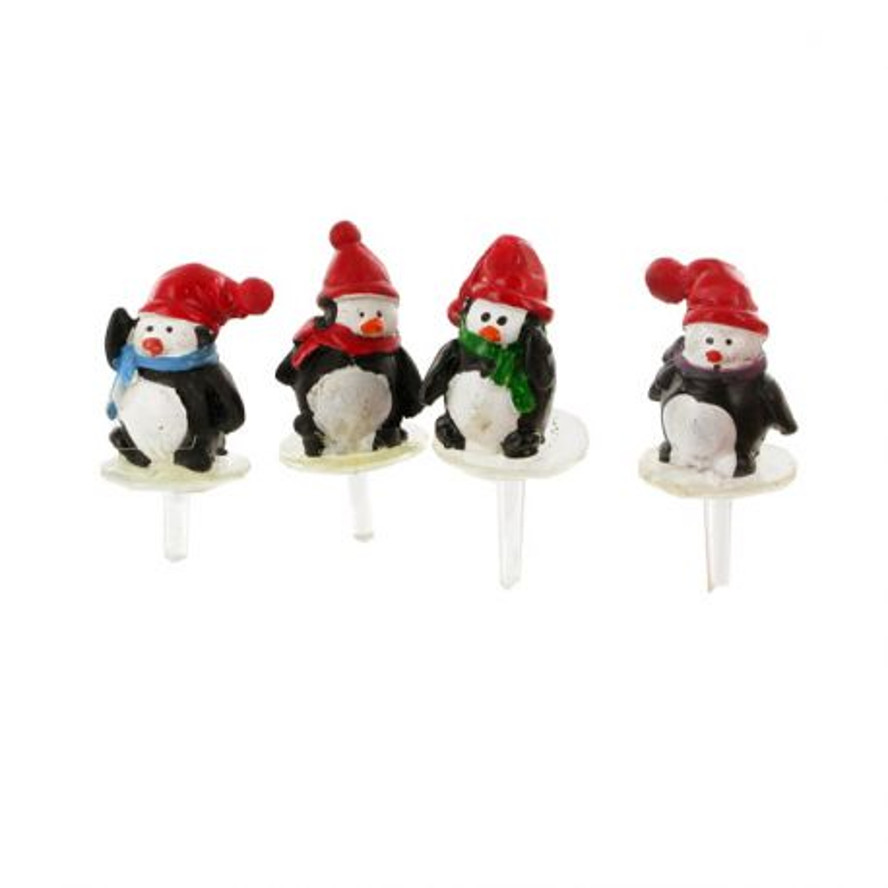 Pingouins assortis sur pique (x4)