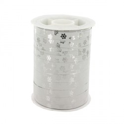 Bolduc Flocons métallisé blanc 10 mm (100 m)