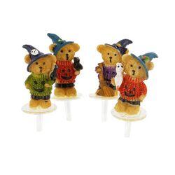 Ours d'Halloween assortis sur pique Patisdécor (x4)