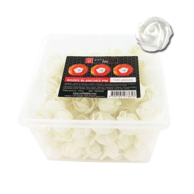 100 petites roses blanches en azyme Patisdécor Pro