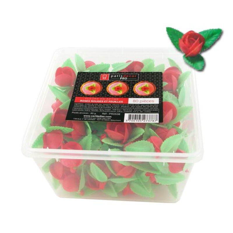 80 roses rouges et feuilles en azyme Patisdécor Pro