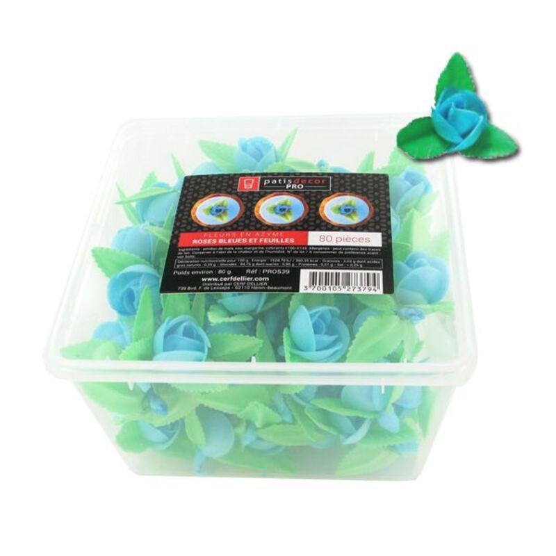 80 roses bleues et feuilles en azyme Patisdécor Pro