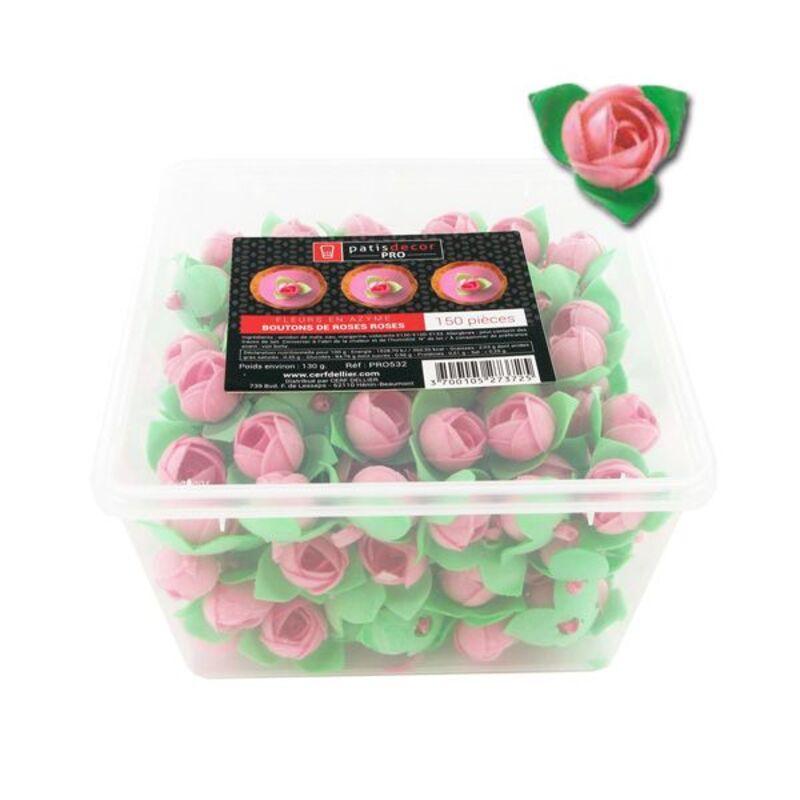 150 boutons de roses roses en azyme Patisdécor Pro