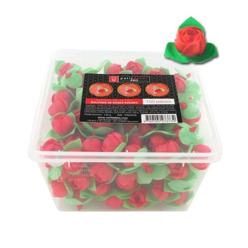 150 boutons de roses rouges en azyme Patisdécor Pro