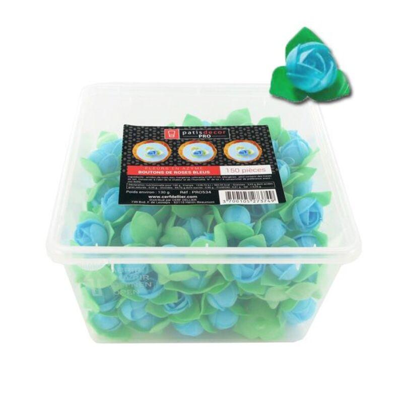 150 boutons de roses bleus en azyme Patisdécor Pro