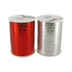 Bolduc Flocons métallisé rouge 10 mm (100 m)