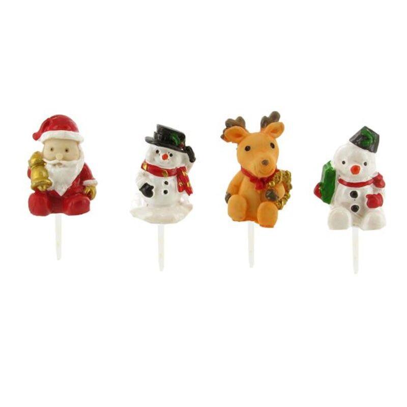 Sujets de Noël assortis sur pique (x4)