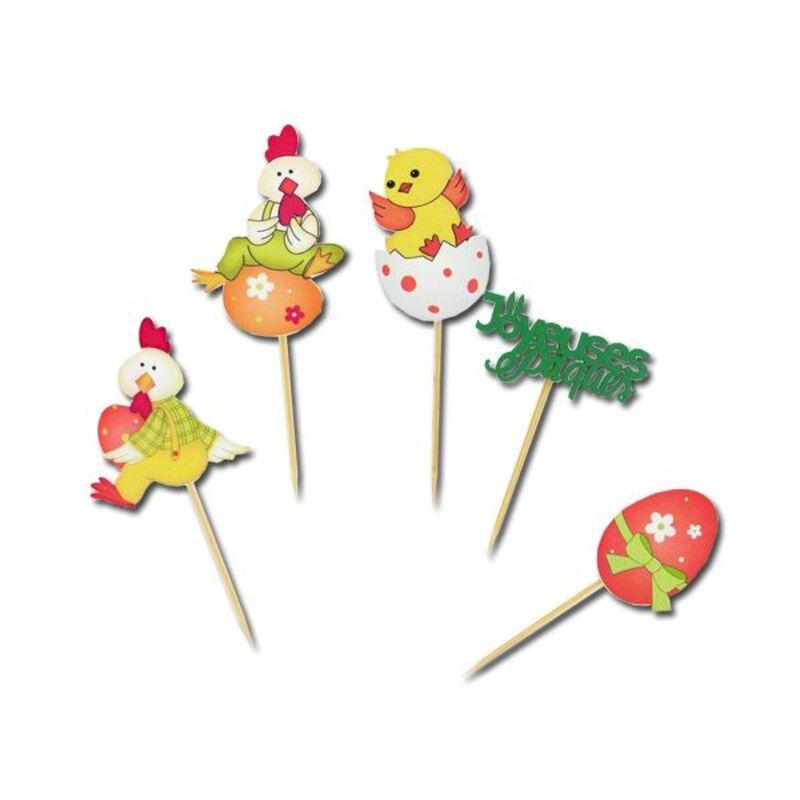 Décor Animaux Joyeuses Pâques sur pique (x10)