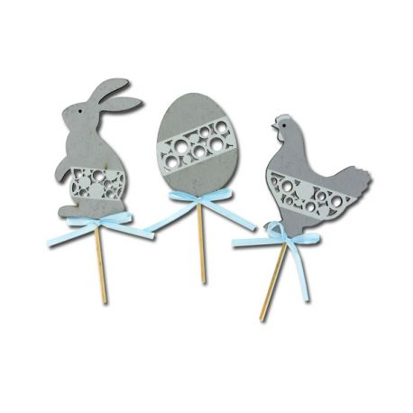 Cake toppers Pâques gris (x3)